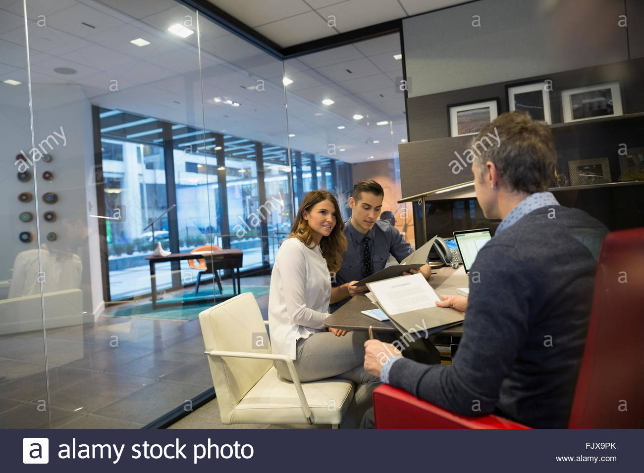 business people meeting boss office 25-29 years - Stock Image