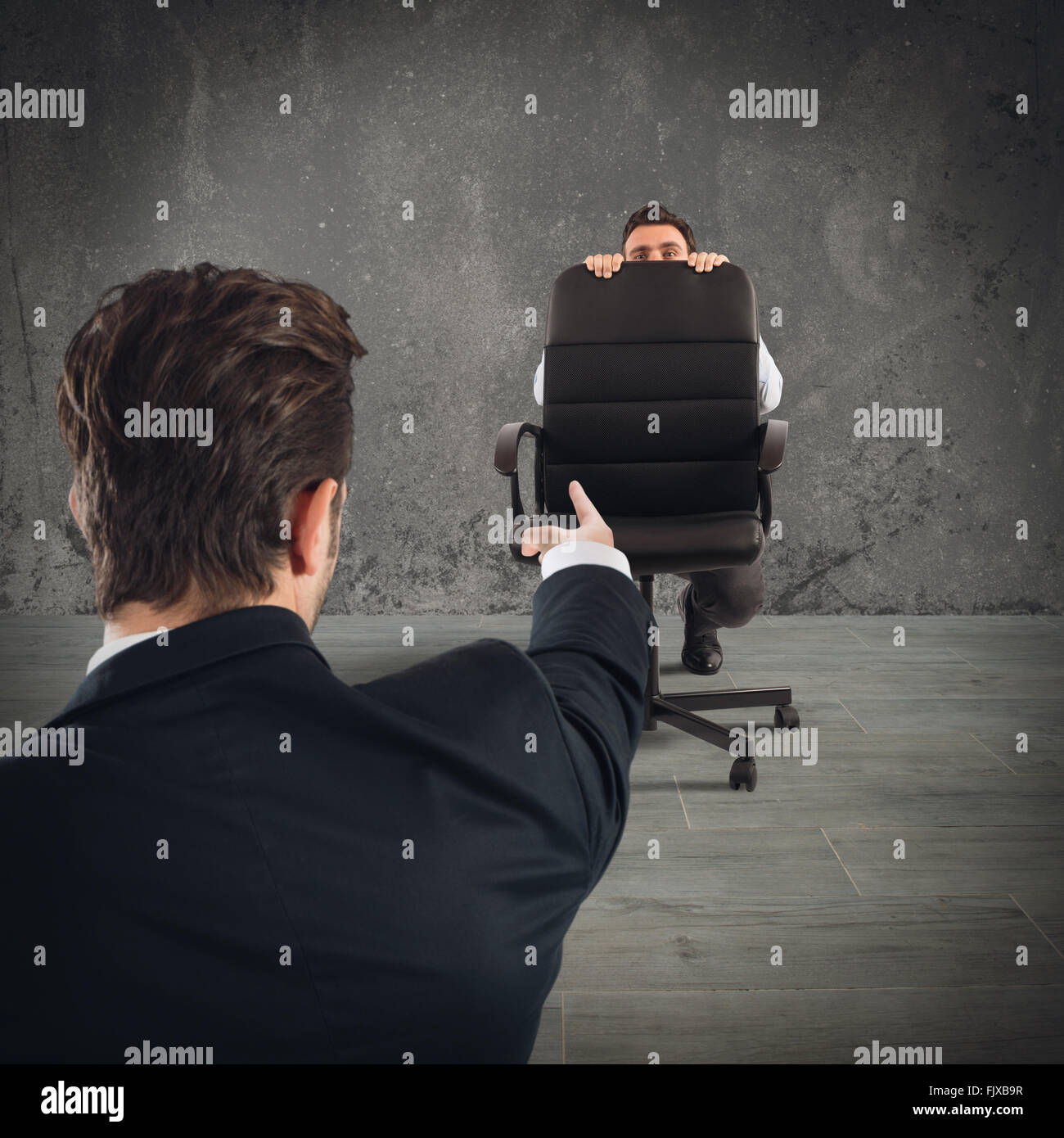Fired afraid employee - Stock Image
