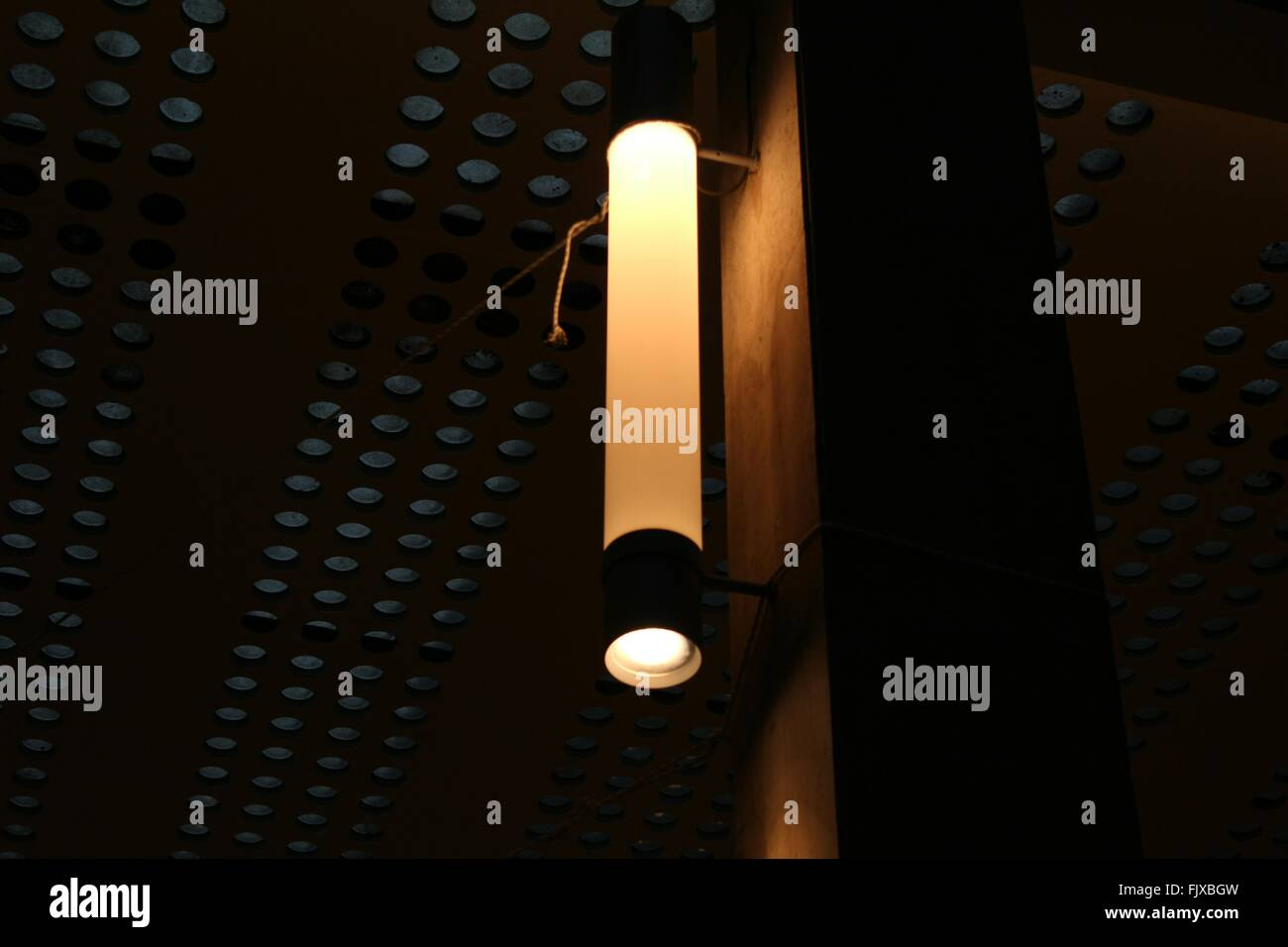 Low Angle View Of Illuminated Light Fixture - Stock Image