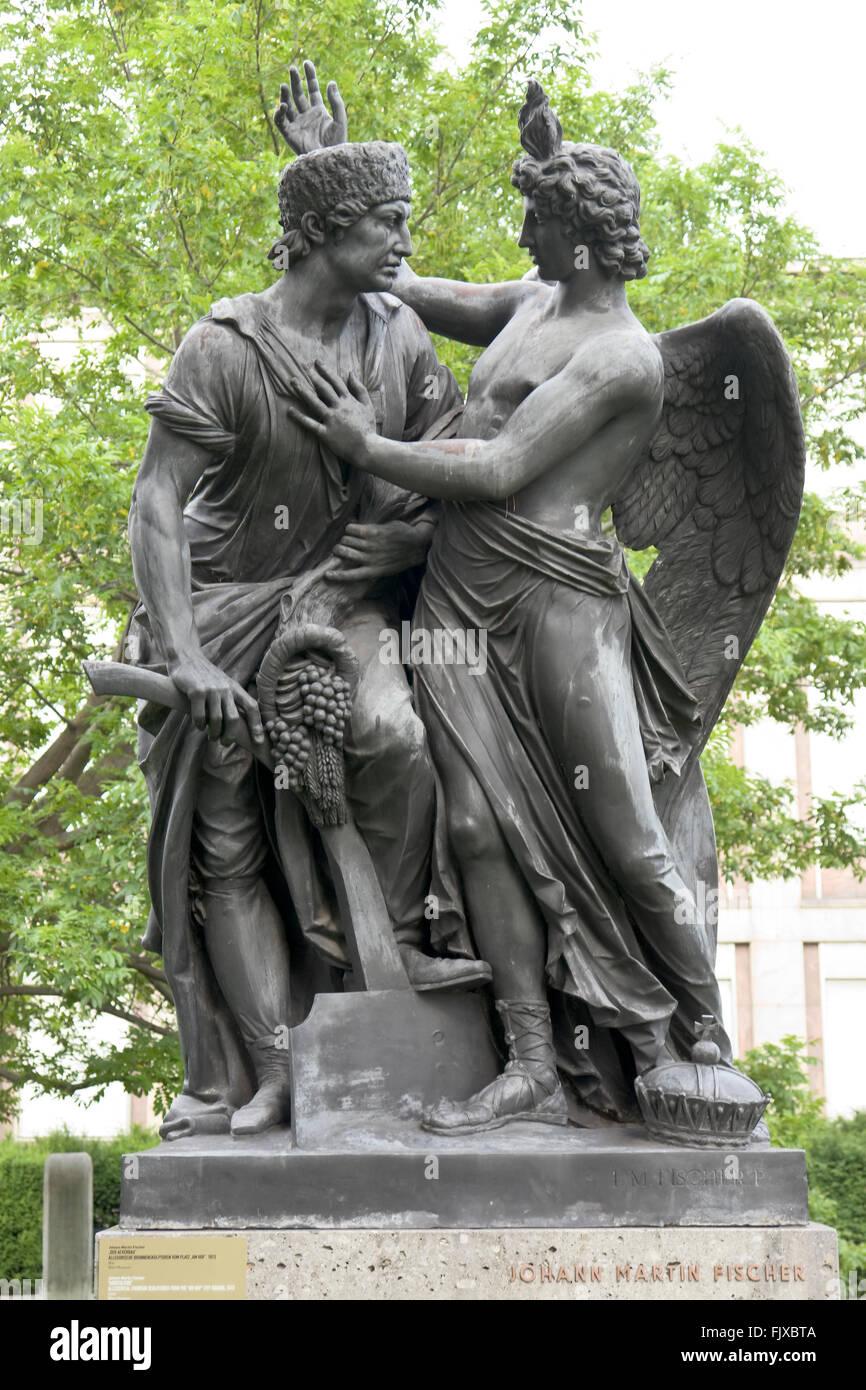 Austria, Vienna, Resselpark, Allegorical Fountain Sculptures from Am Hof Square - Stock Image