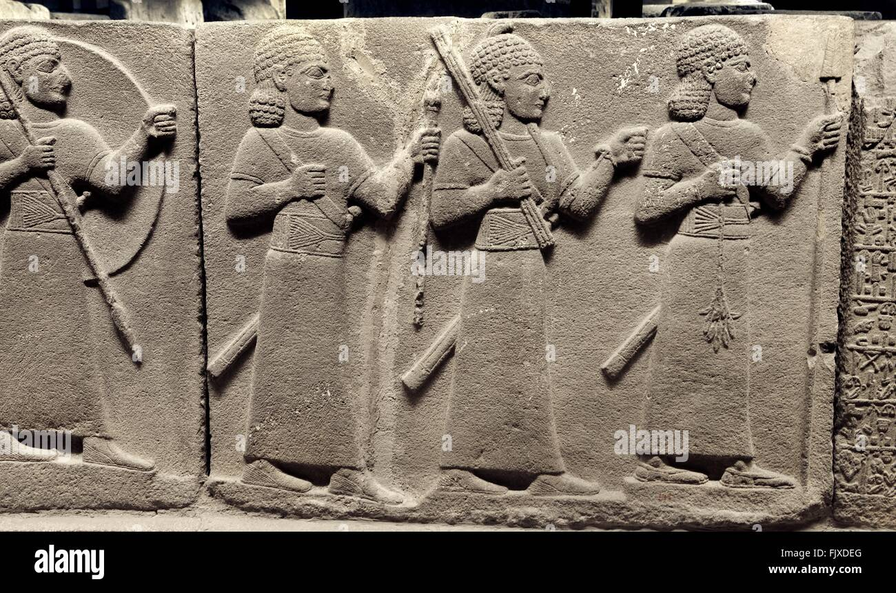 Hittite palace officials or warriors. Relief carving from Carchemish 8C BC. Museum of Anatolian Civilizations, Ankara, - Stock Image