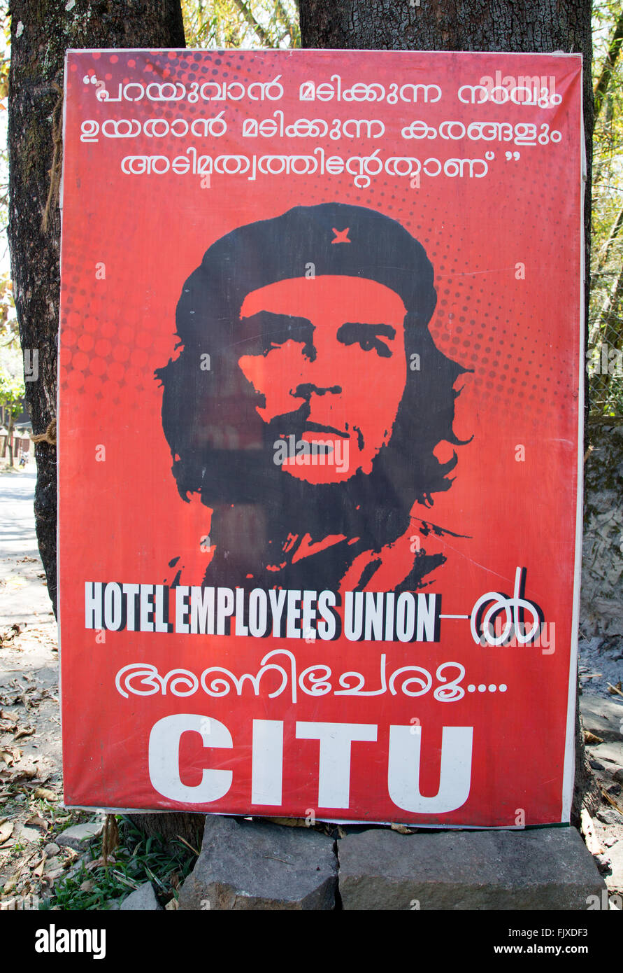 Che Guevara poster for the Communist government in Kerala India - Stock Image