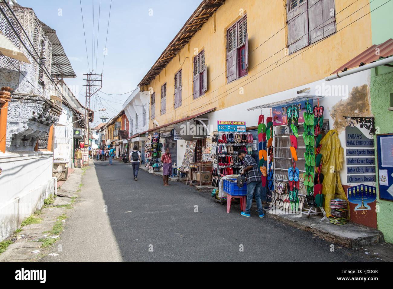 Shops In Jew Town Kochi Kerala India - Stock Image