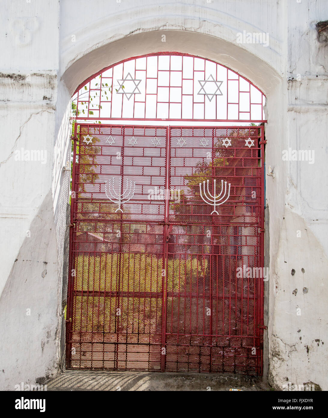 Entrance to The Ancient Jewish Synagogue  In Jew Town Kochi Kerala India - Stock Image