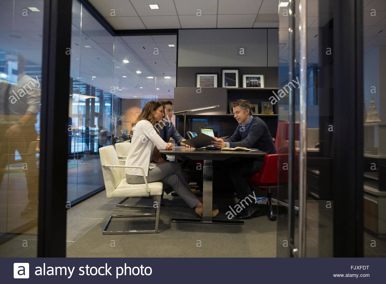 business people meeting boss office - Stock Image