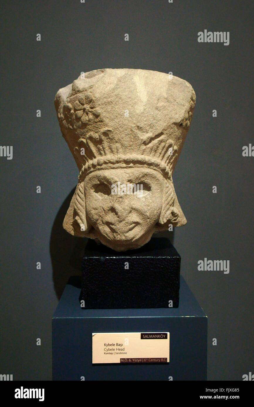 Head portrait of Cybele. Anatolian Mother Goddess carved in sandstone. 6C BC. Museum of Anatolian Civilizations, - Stock Image