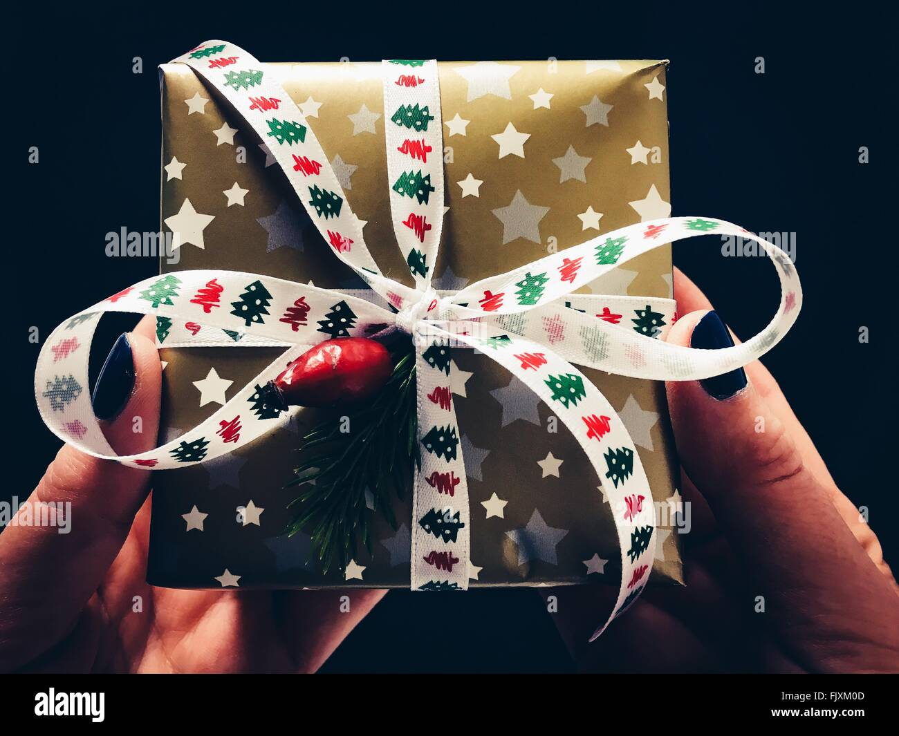 Close-Up Of Hands Holding Gift - Stock Image
