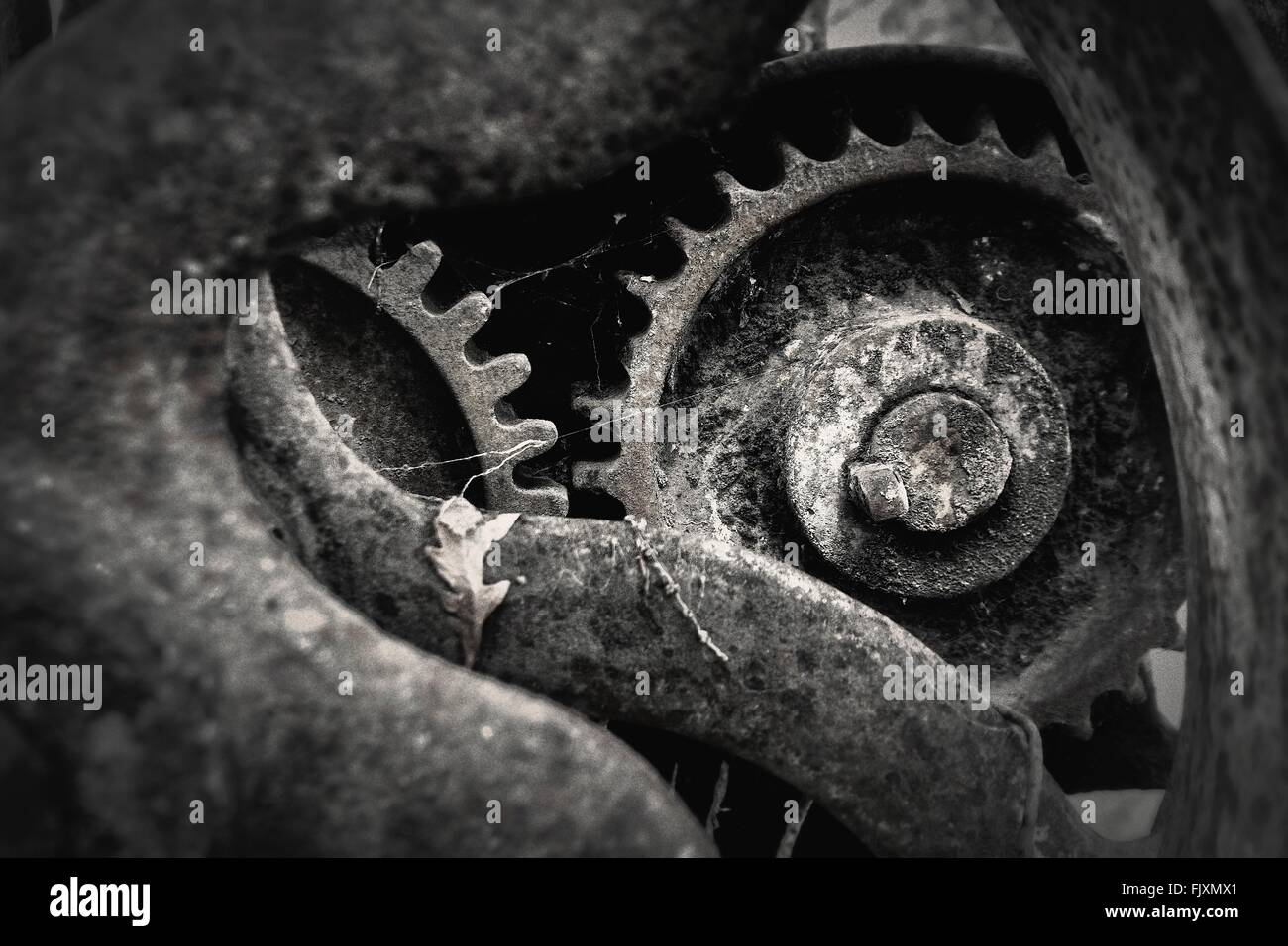 Close-Up Of Rusty Abandoned Machine Part Stock Photo