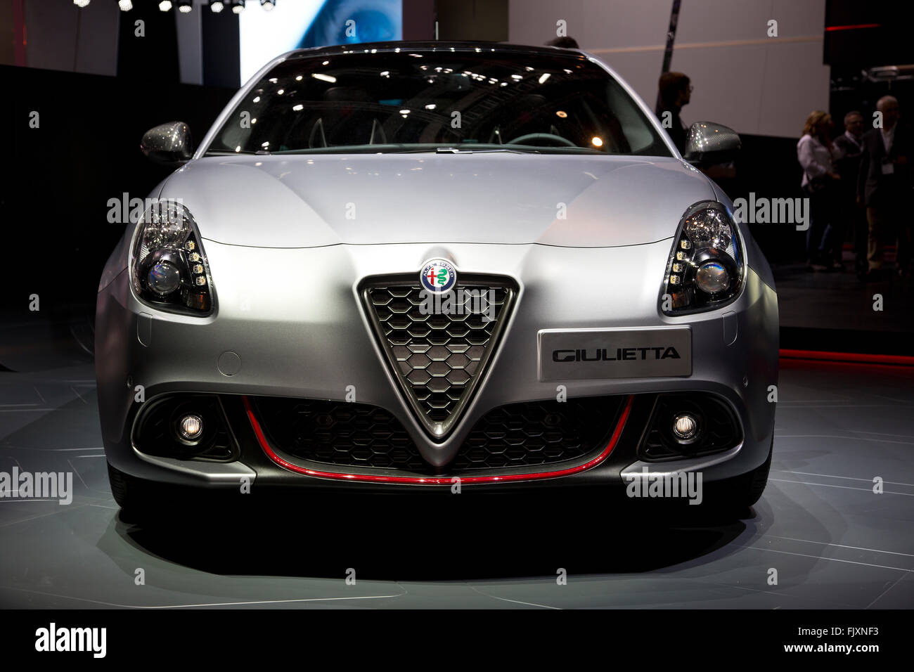 Alfa Romeo Giulietta hatchback car at the Geneva Motor Show 2016 - Stock Image