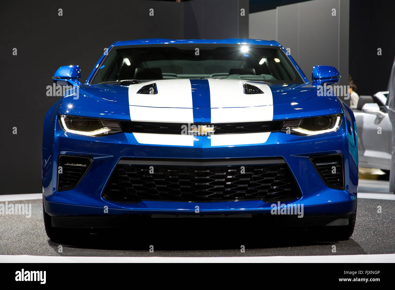 Chevrolet Camaro muscle car at the Geneva Motor Show 2016 - Stock Image