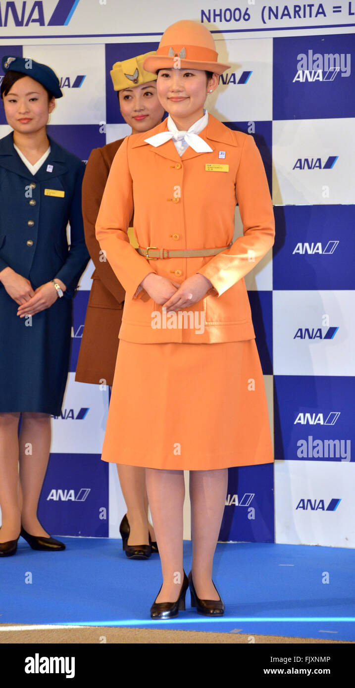 Narita, Japan  3rd Mar, 2016  A cabin attendant of Japanese airline
