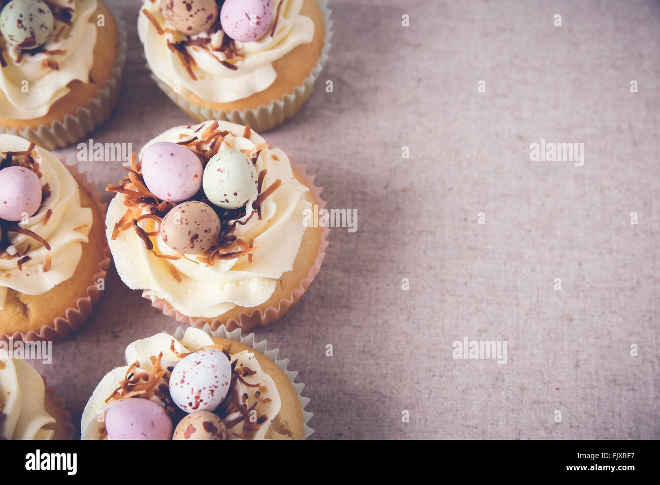 Homemade Easter eggs cupcakes, copy space background,toning - Stock Image