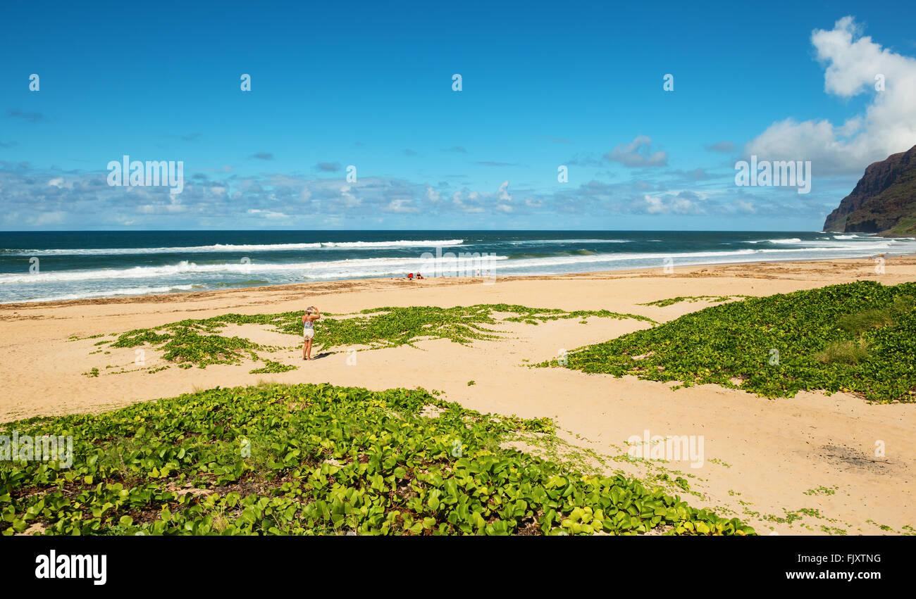 barking sands beach kauai hawaii Stock Photo