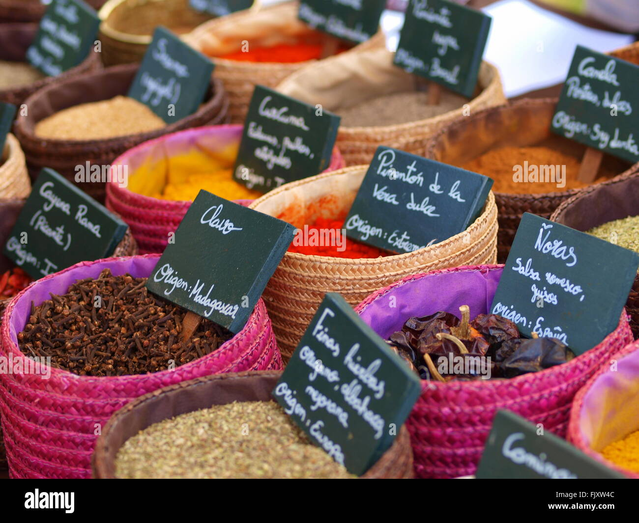 High Angle View Of Various Spices For Sale At Street Market - Stock Image