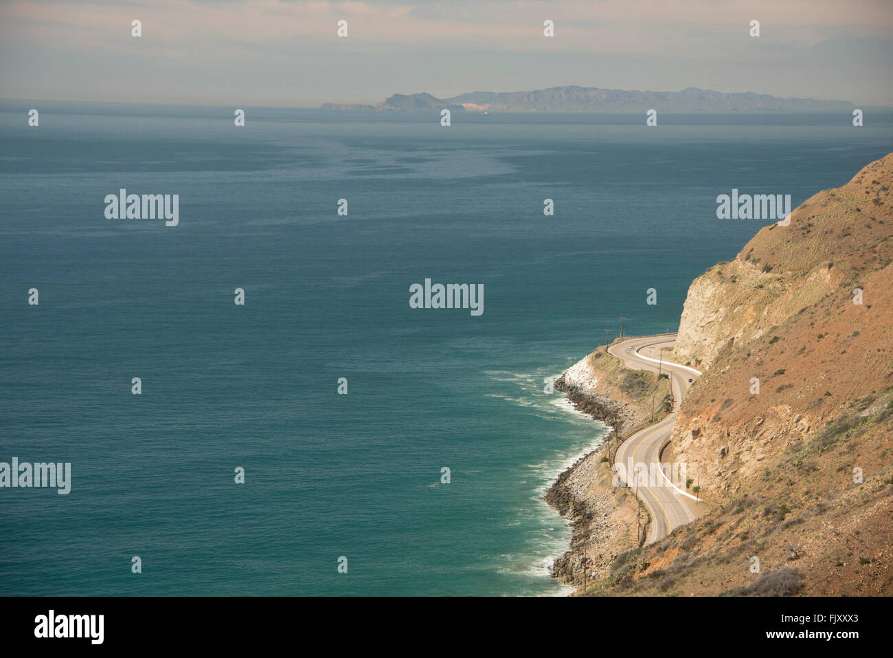 View of Pacific Coast Highway PCH Route 1 north of Los Angeles along the Pacific Ocean coast of Southern California - Stock Image