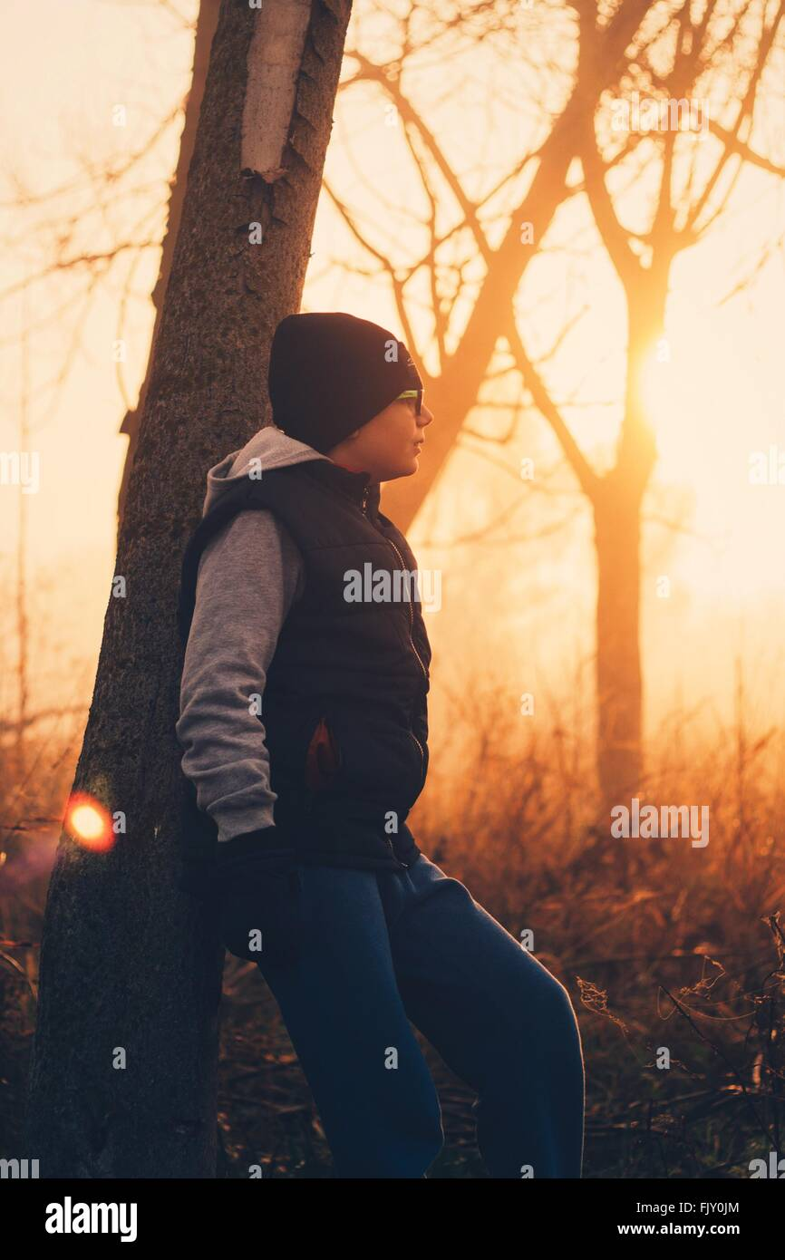Teenage Boy Leaning On Tree At Field During Sunset - Stock Image