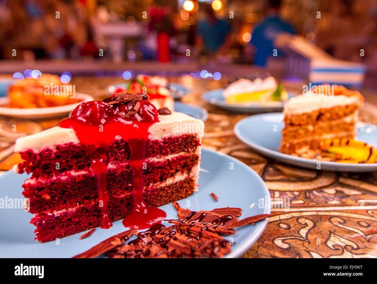 Cakes On Restaurant Table - Stock Image