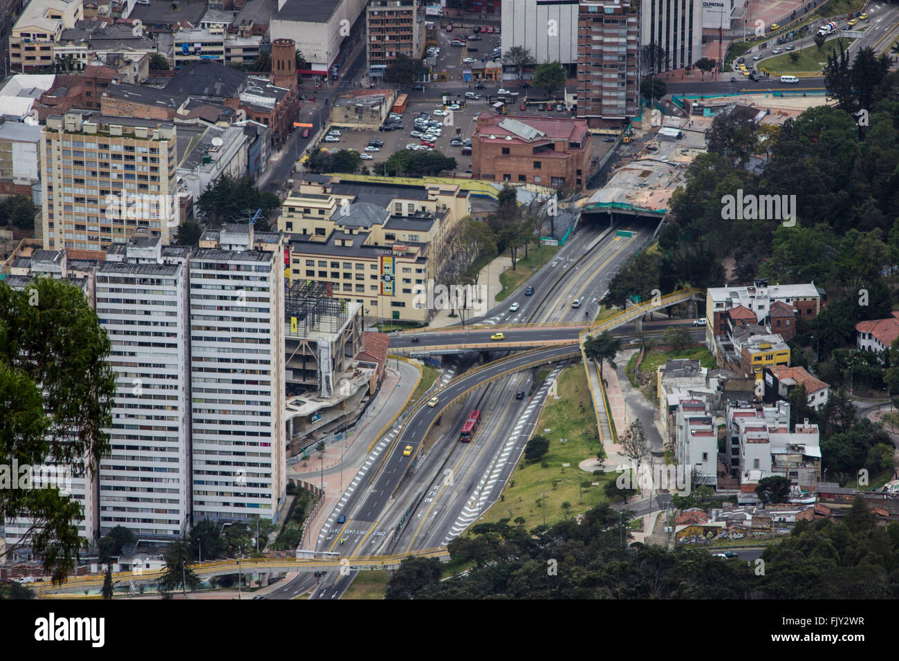 High Angle View Of Multiple Lane Highways Amidst Buildings In City - Stock Image