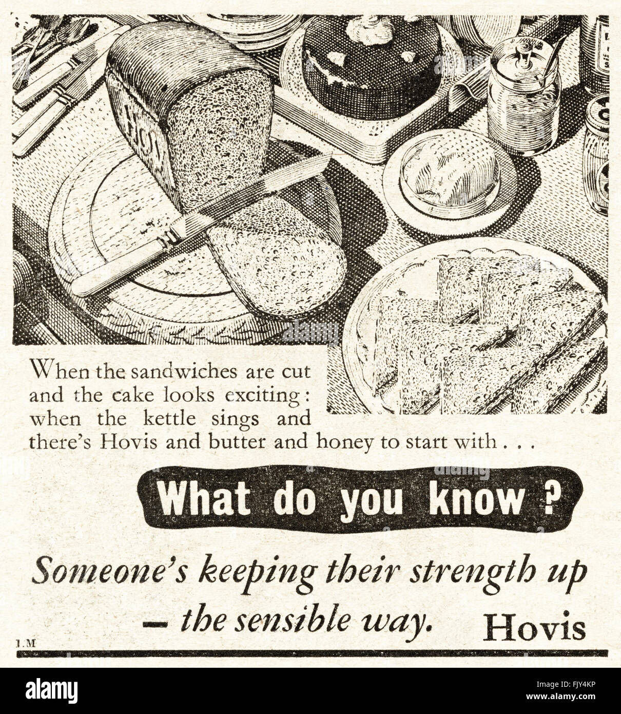 Original vintage advert from 1940s. Advertisement dated 1947 advertising HOVIS BREAD. - Stock Image