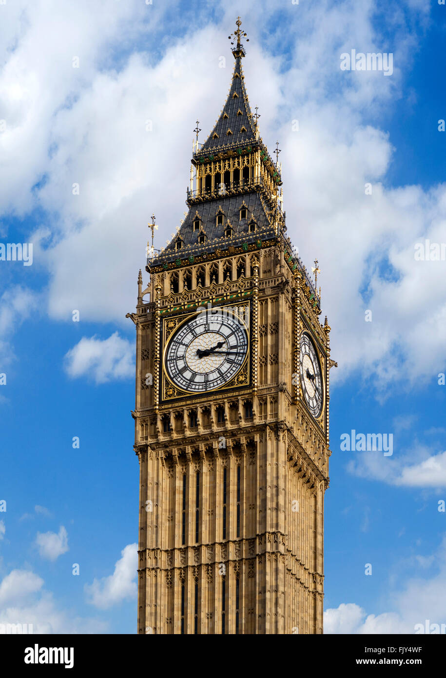 Big Ben at the Palace of Westminster, London, England, UK - Stock Image