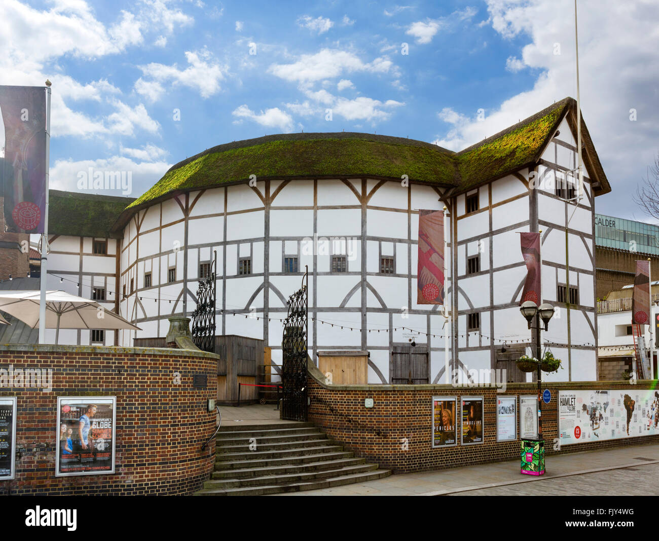 Shakespeare's Globe theatre on the south bank of the River Thames, Southwark, London, England, UK - Stock Image