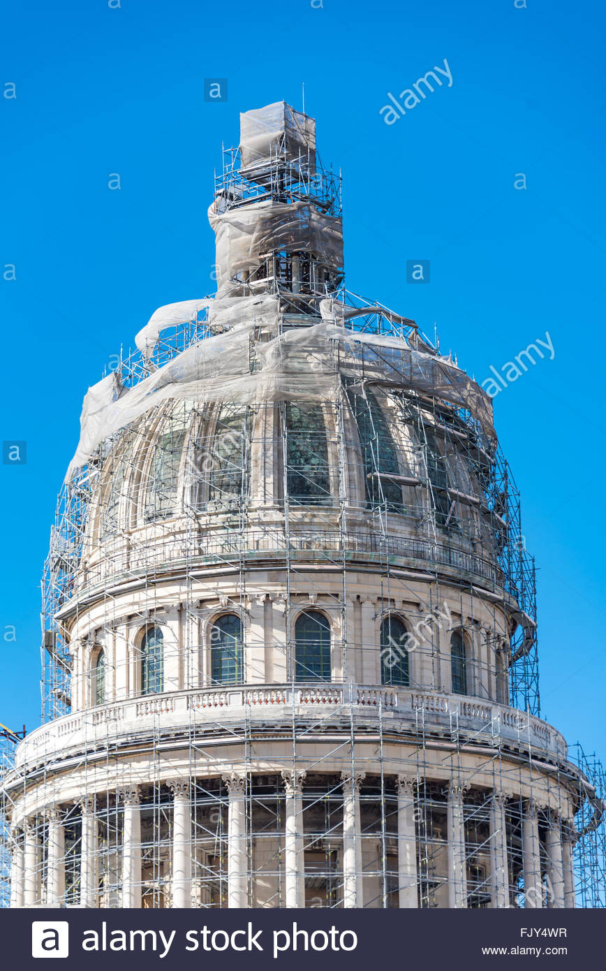 El Capitolio, or National Capitol Building being under repair, The building is one of Cuba most famous tourist landmark - Stock Image