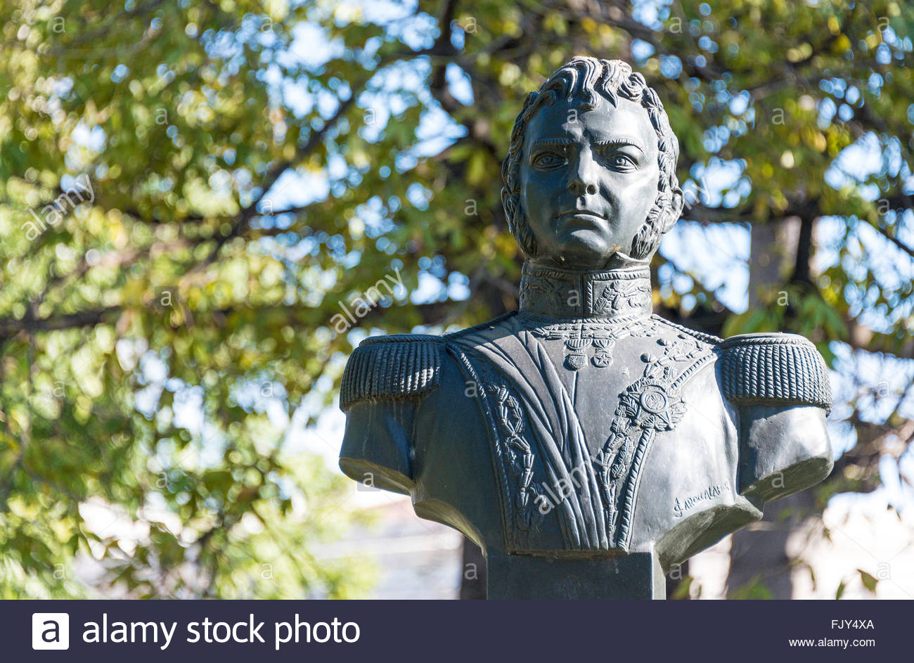Bernardo O'Higgins's monument. Important figure in the freedom of Chile  from Spanish rule, in the Chilean - Stock Image