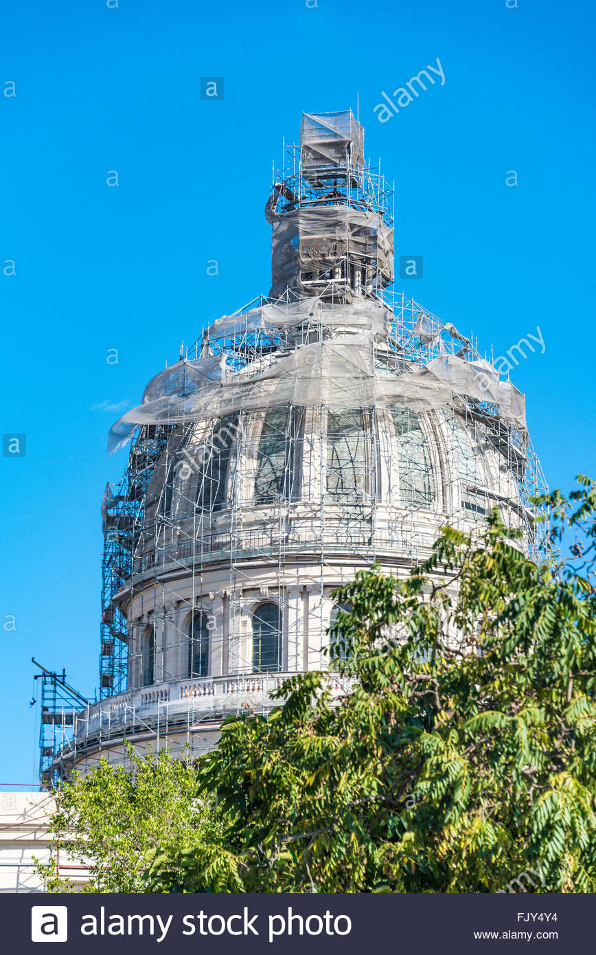 El Capitolio, or National Capitol Building being under repair, This building is one of Cuba most famous tourist - Stock Image