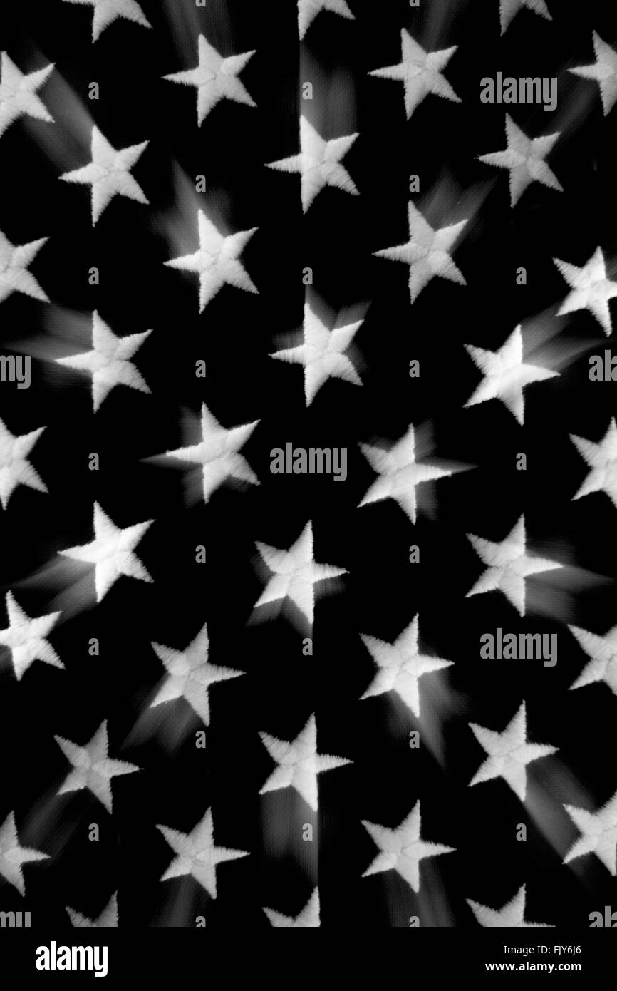 EMBROIDERED FIVE POINT WHITE STARS ON BLACK BACKGROUND - Stock Image