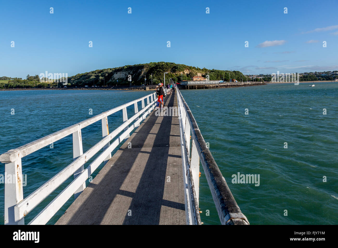 Wharf at auckland mission bay stock photo 97713888 alamy - Mission bay swimming pool auckland ...