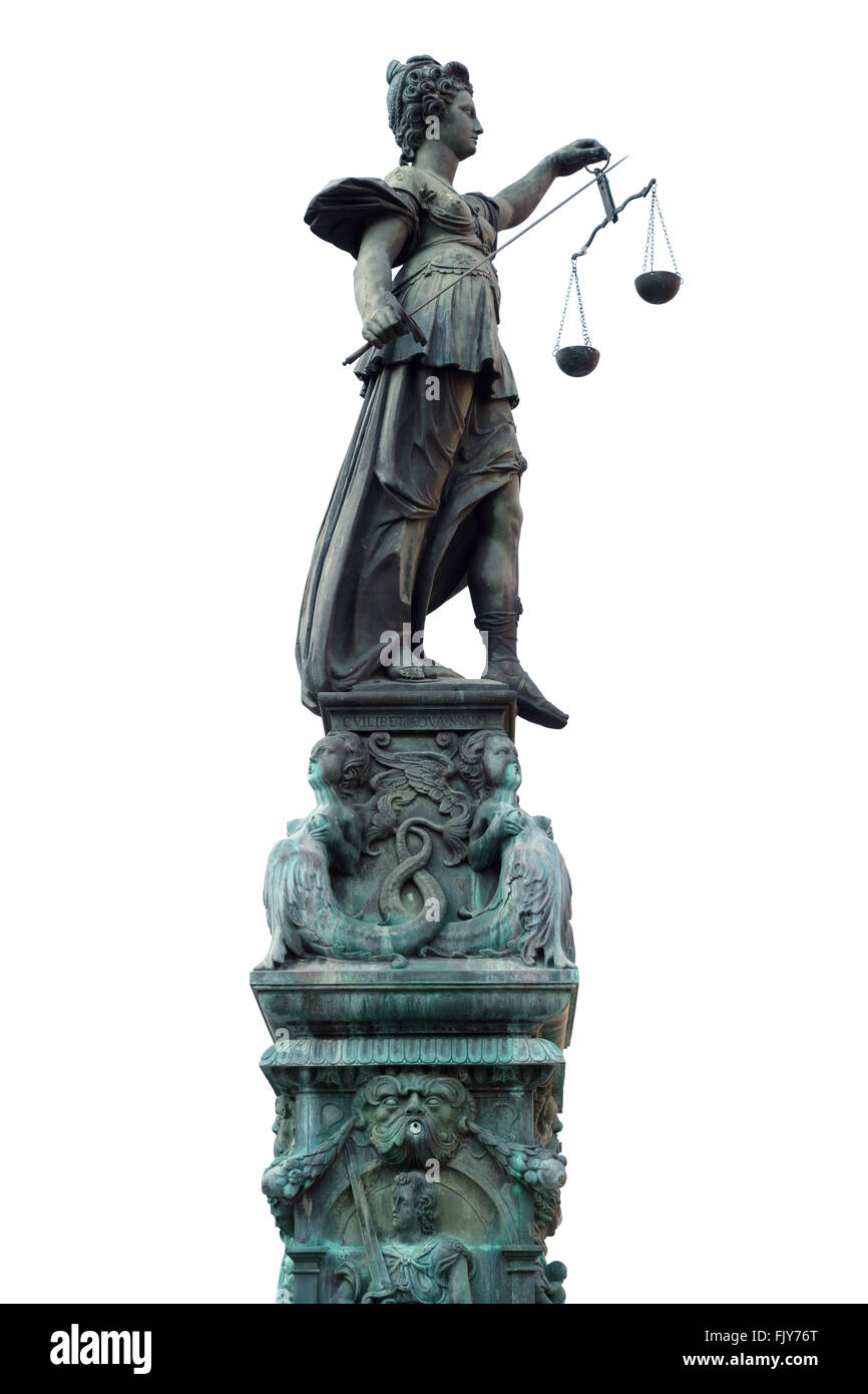 sculpture of justitia isolated on white - Stock Image