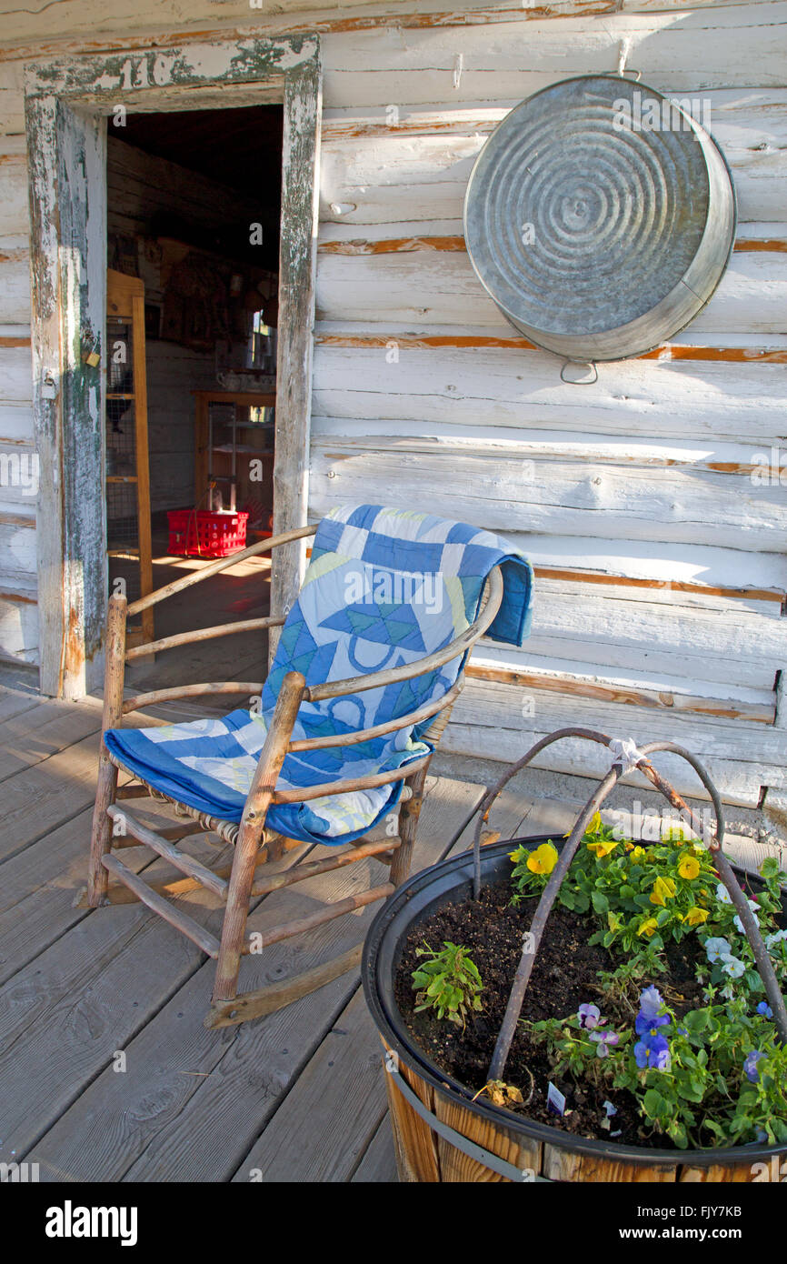 Porch of the store turned museum at Menor's Ferry in Moose - Stock Image
