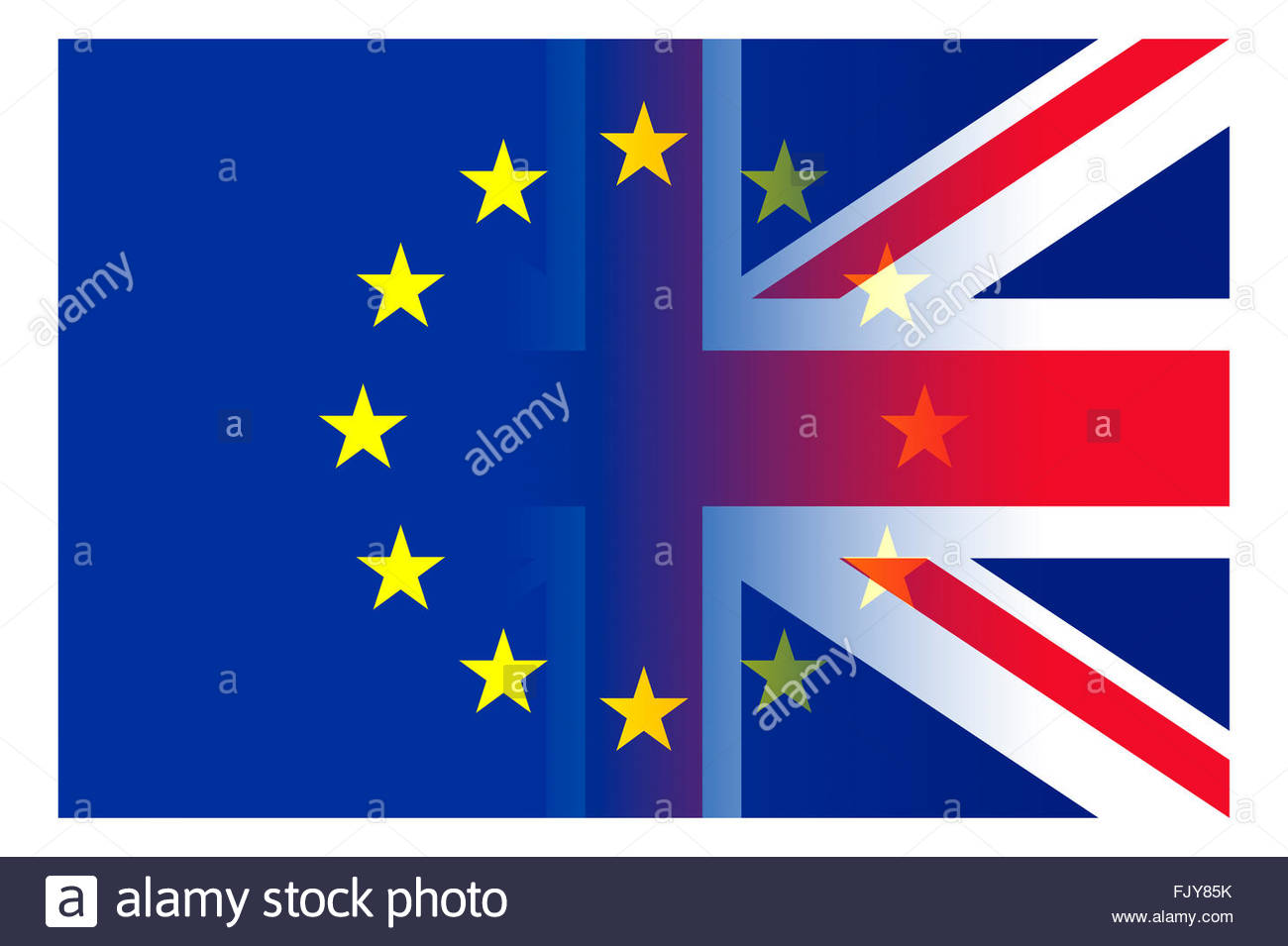 UK and EU flags merged to represent the the union. - Stock Image