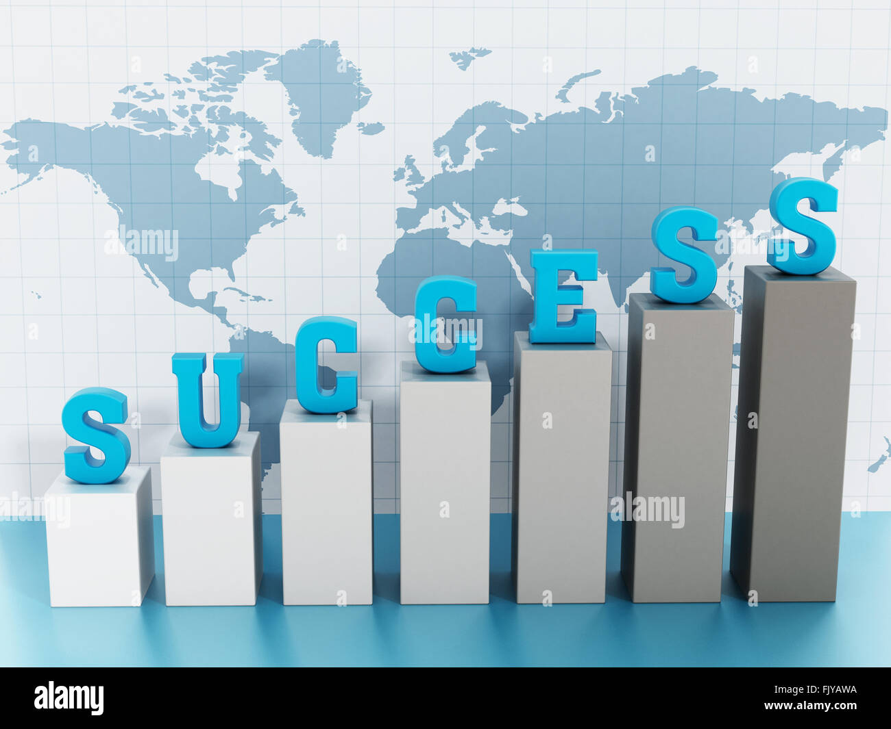 Success word on rising graph on world map background. - Stock Image