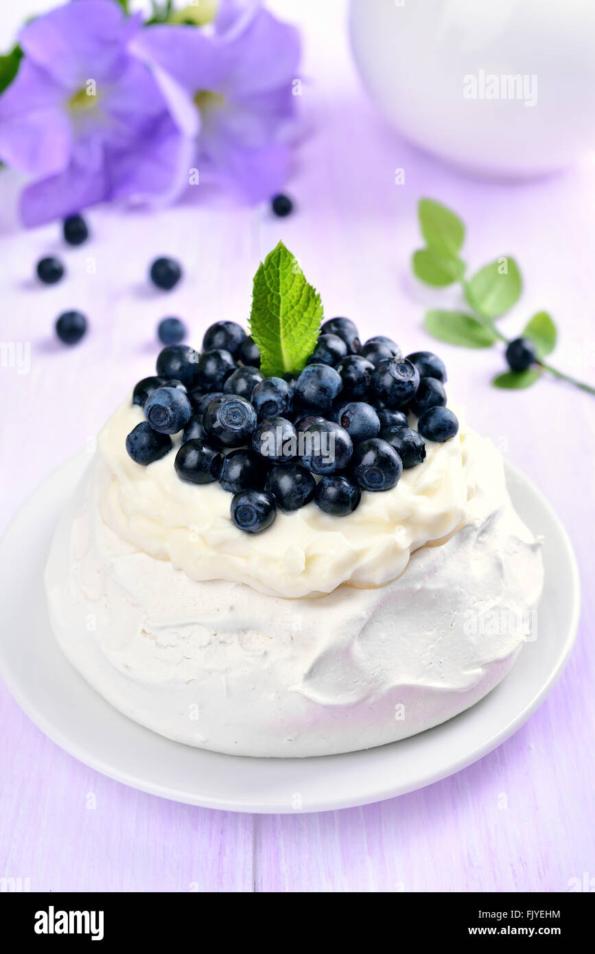 Meringue cake Pavlova with fresh blueberries and whipped cream - Stock Image