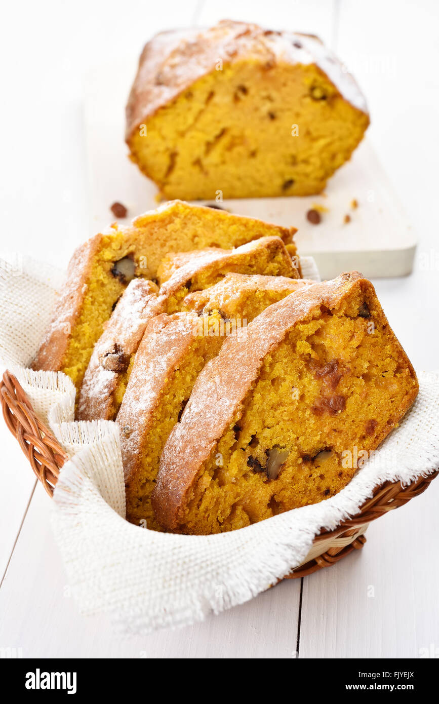 Sliced pumpkin loaf with nuts, cinnamon and raisin - Stock Image
