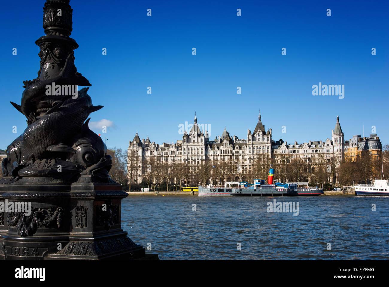 Whitehall Court Royal Horse guards Hotel Victoria embankment London England - Stock Image