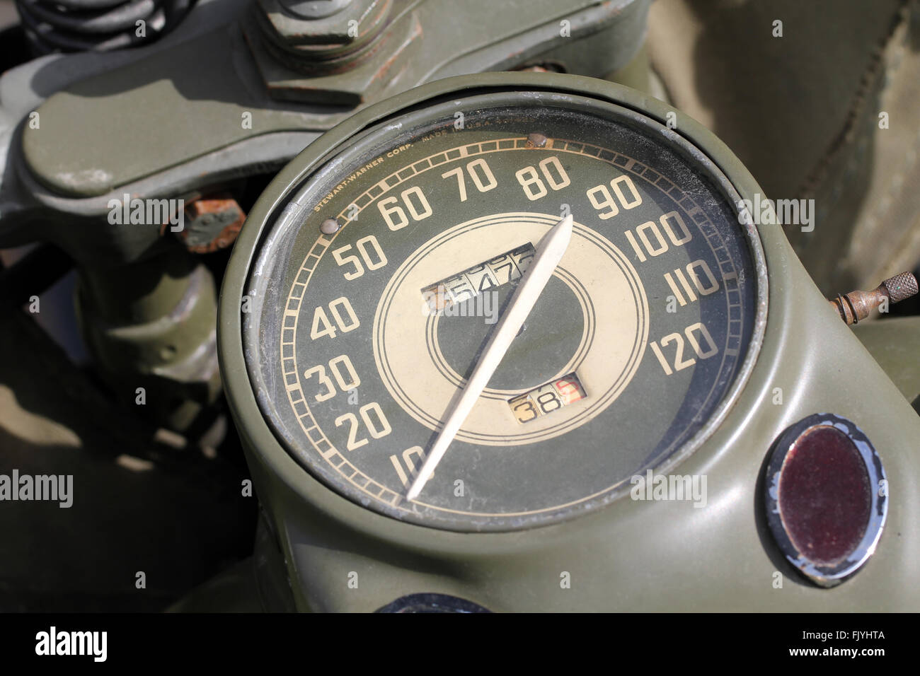 Old Army motorcycle meter - Stock Image