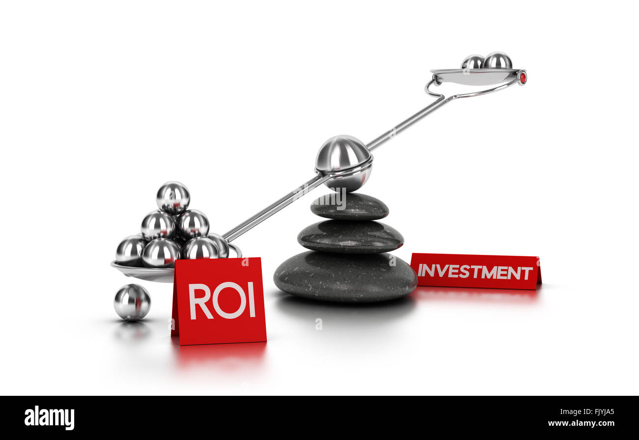 Metal spheres on a seesaw with three black pebbles over white background. Finance concept image for illustration - Stock Image