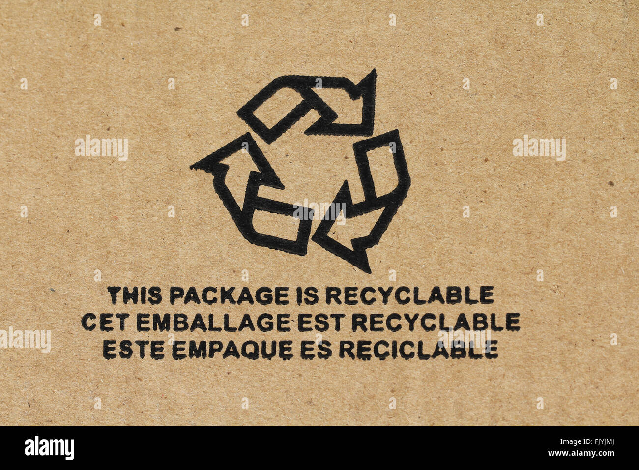 Symbol - Recyclable packaging - Stock Image
