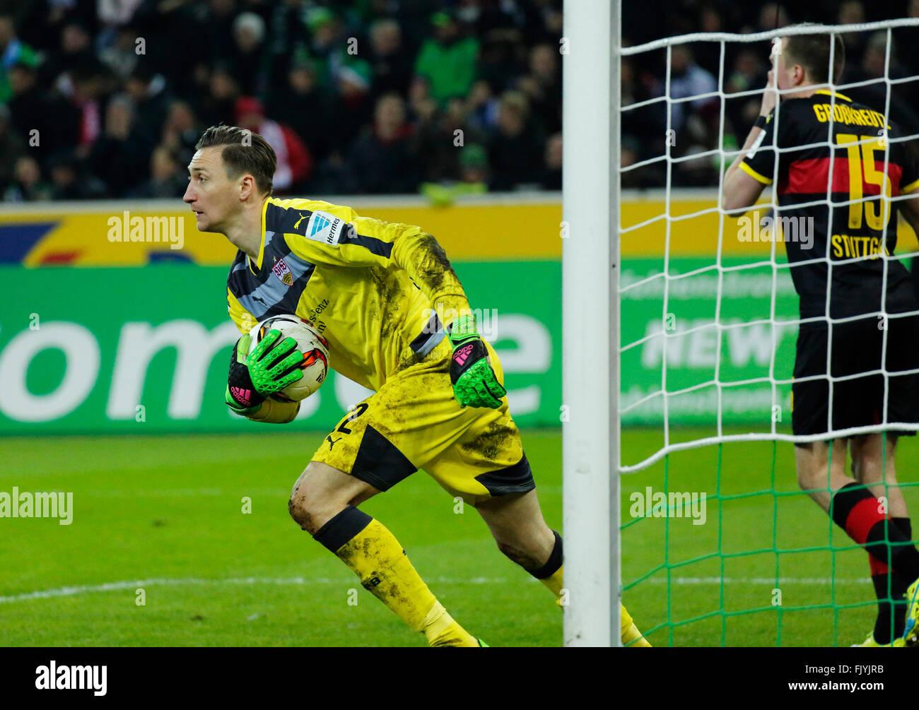 sports, football, Bundesliga, 2015/2016, Borussia Moenchengladbach versus VFB Stuttgart 4:0, Stadium Borussia Park, - Stock Image
