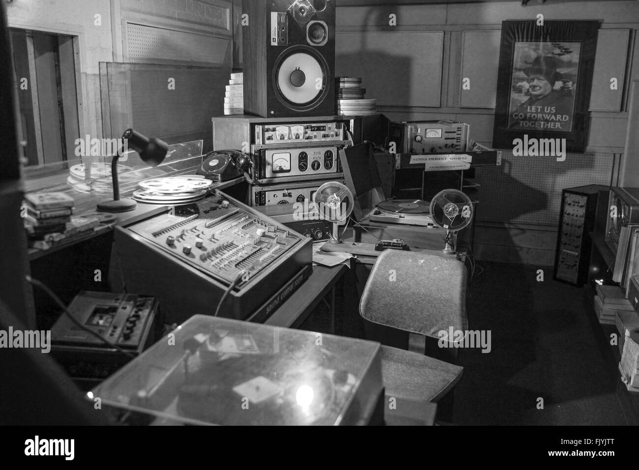 Vintage radio studio underground at Scotlands Secret Nuclear Bunker in Troywood in Scotland - Stock Image