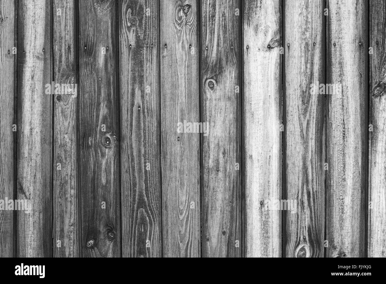 Vintage black and white wood background. Grunge wooden weathered oak or pine textured planks. - Stock Image
