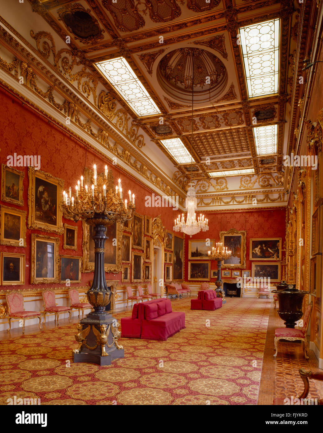 APSLEY HOUSE, London. View of the Waterloo Gallery. - Stock Image