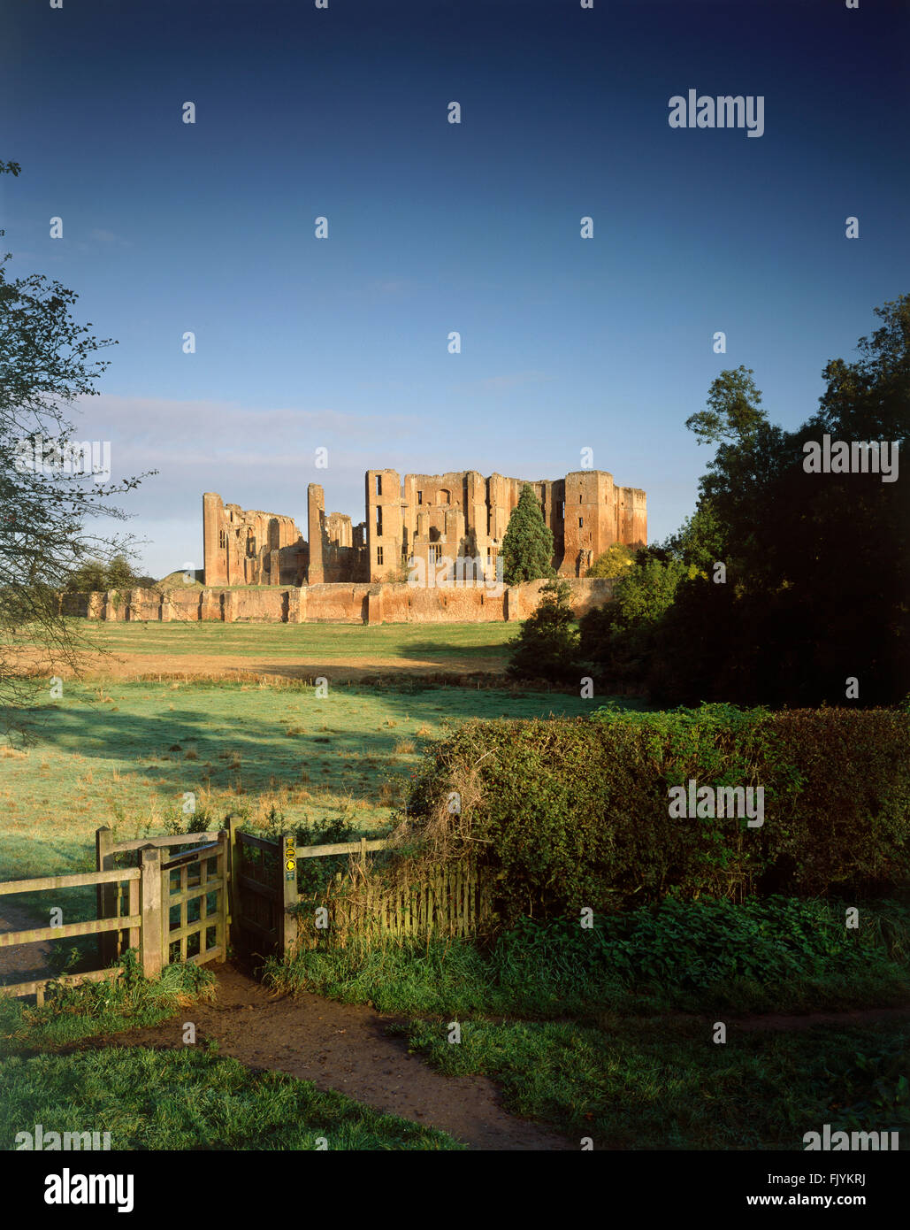 KENILWORTH CASTLE, Warwickshire. View across the field towards the castle, which at one time formed part of the - Stock Image