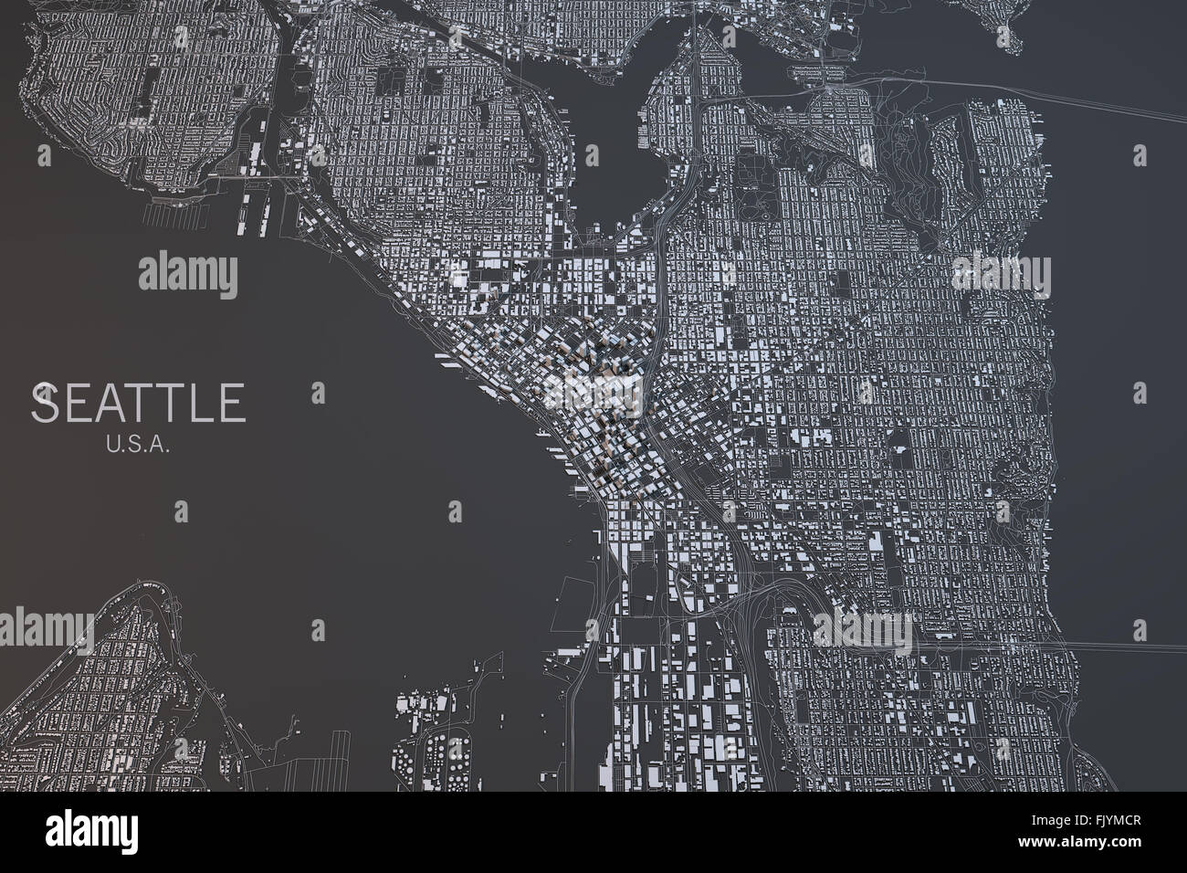 Seattle map, satellite view, Usa Stock Photo: 97724391 - Alamy on