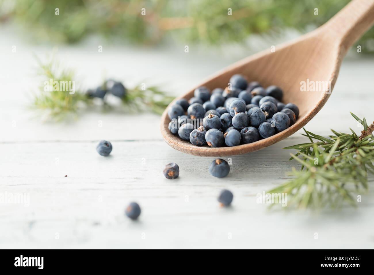 Wooden spoon with juniper berries - Stock Image