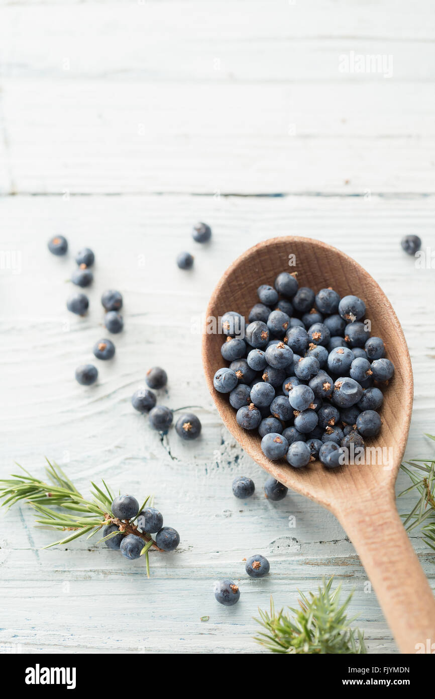 Wooden spoon with juniper berries - Stock Image