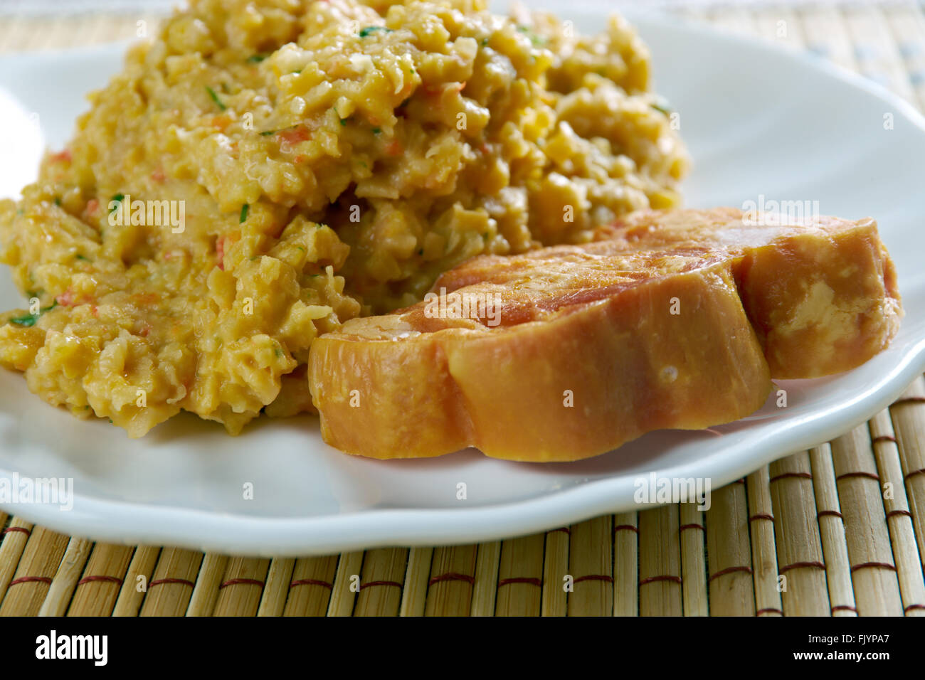 Matevz pureed beans - Slovene national dish.made of beans and potatoes.Slovenian cuisine - Stock Image