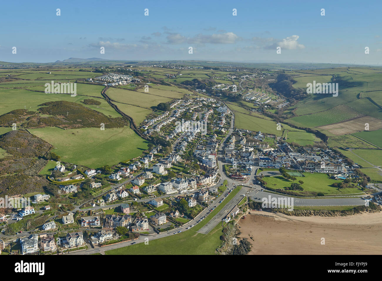 An aerial view of the North Devon seaside resort of Woolacombe - Stock Image